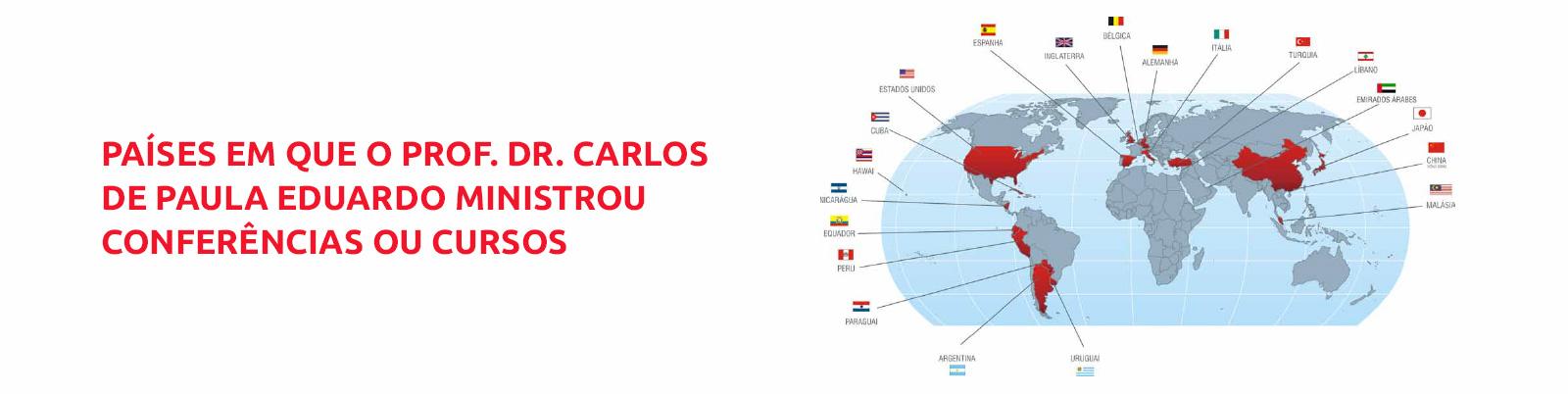 Países em que o Prof. Dr. Carlos de Paula Eduardo ministrou conferências ou cursos
